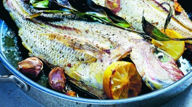 Pan-roasted snapper with garlic and bay.