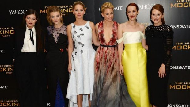 Lorde, Natalie Dormer, Jennifer Lawrence, Elizabeth Banks, Jena Malone and Julianne Moore attend the world premiere of ...