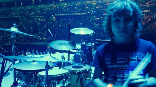 Jagger Alexander-Erber onstage at the Rolling Stones concert at Sydney's Allphones Arena on Wednesday night.