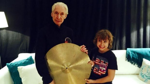 The Rolling Stones drummer Charlie Watts with fan Jagger Alexander-Erber, who gifted his rock idol with  a cymbal once ...