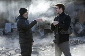 Francis Lawrence directs Liam Hemsworth in <i>The Hunger Games: Mockingjay - Part 1</i>.