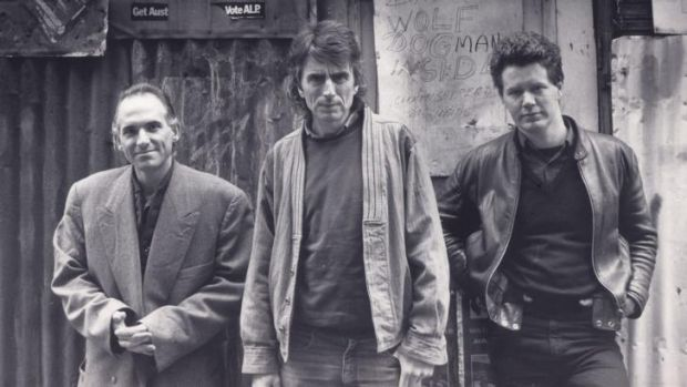 A true romantic poet: Phil Motherwell (centre) at La Mama in 1986 with Joe Dolce and Daniel Keene.