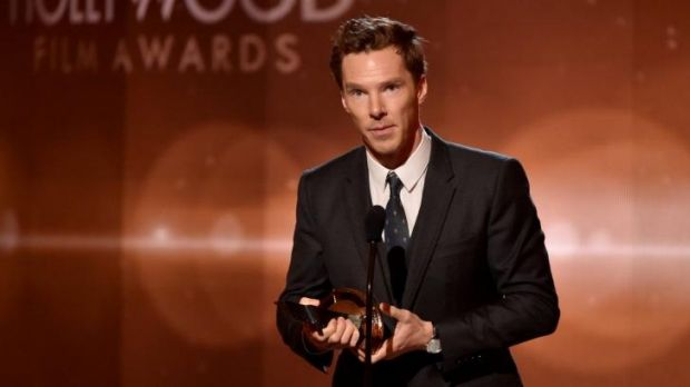Award winning performance: Benedict Cumberbatch accepts the Hollywood Actor Award for his performance in <i>The ...