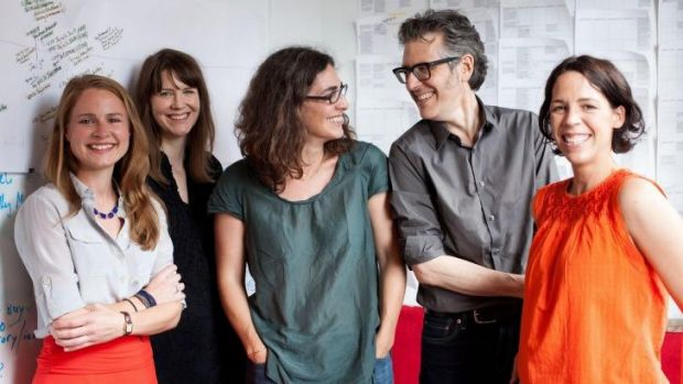 The people behind Serial: Dana Chivvis, Emily Condon, Sarah Koenig, Ira Glass and Julie Snyder.