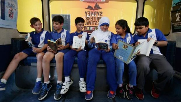 Ready to read: Parramatta West Public School pupils Mohamad Addoug (left) and Hassan Al-Shahmani, both 9, Kapadia ...