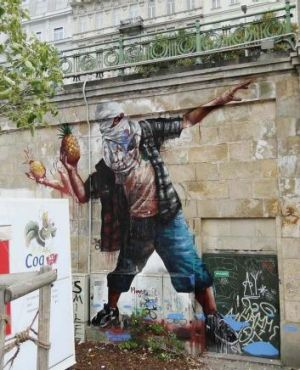 Fintan Magee's work in Vienna: <i>Queensland Rioter</i>.