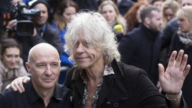 Please stop ... Musicians Midge Ure (left) and Bob Geldof attend the recording of the Band Aid 30 charity single in west ...