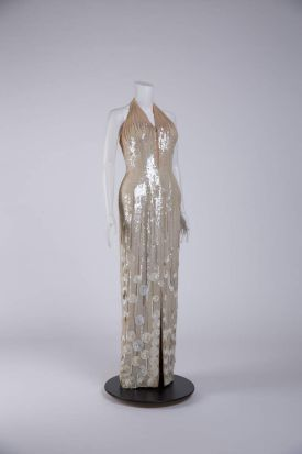 A costume worn by Jane Russell that is part of the Costumes from the Golden Age of Hollywood exhibition at Museum of ...