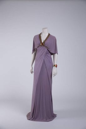 A costume worn by Nina Foch (The Ten Commandments, directed by Cecil B deMille, 1956. Designers: Edith Head, Dorothy ...