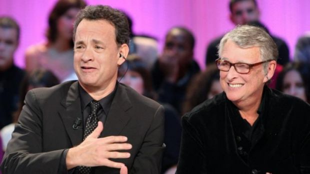 German born US film director Mike Nichols (right) and actor Tom Hanks answer questions on French television as they ...