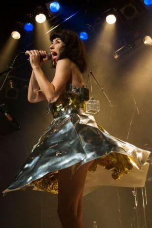 Heavy frock: Kimbra's spectacular tinfoil tutu (pictured  in Auckland recently).