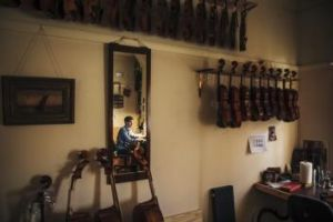 Hugh Withycombe's violin workshop in Gorman House looks exactly as you expect it to.