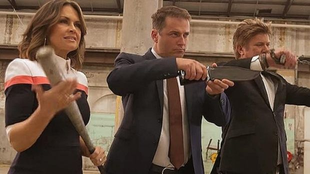 A fight to the death: <i>Today</i>'s Lisa Wilkinson, Karl Stefanovic and Richard Wilkins take up arms.