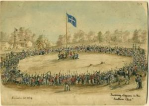 Eureka moment: Charles Doudiet's <i>Swearing allegiance to the Southern Cross</i>, 1854. Watercolour, pen and ink on ...