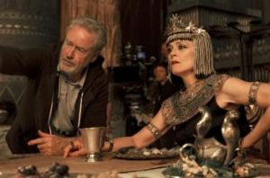 Sweeping vision: Director Ridley Scott and Sigourney Weaver on set of the film <i>Exodus: Gods and Kings</i>.