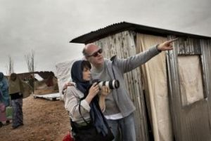 Horror story: Juliette Binoche and director Erik Poppe on the set of <i>A Thousand Times Goodnight</i> in Morocco.