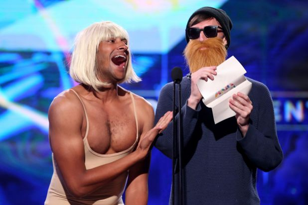 Triple J's Matt Okine and Alex Dyson as Sia and Chet Faker.
