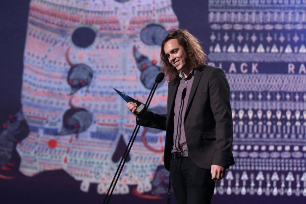 Shane Parsons of DZ Deathrays with the ARIA for best hard rock/heavy metal album.
