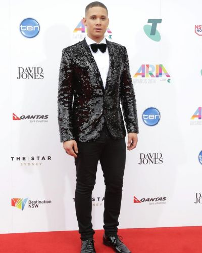 Nathaniel Willemse arrives at the ARIA Awards 2014.