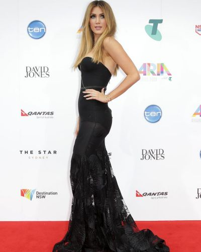 Delta Goodrem arrives at the ARIA Awards 2014.