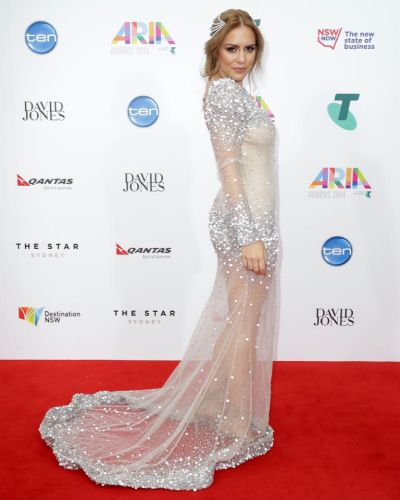 Reigan Derry arrives at the ARIA Awards 2014.