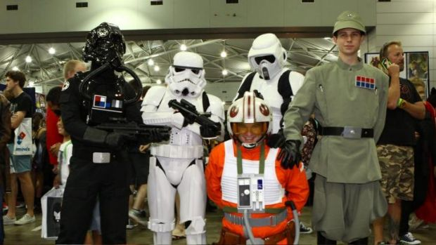 These five men have dressed up as Star Wars characters, Daniel Kettle as Tie Pilot, Leo Faino as a Stormtrooper, Daniel ...