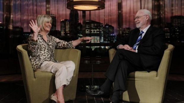 Farewell: Margaret Pomeranz and David Stratton on the set of <i>At the Movies</i>.