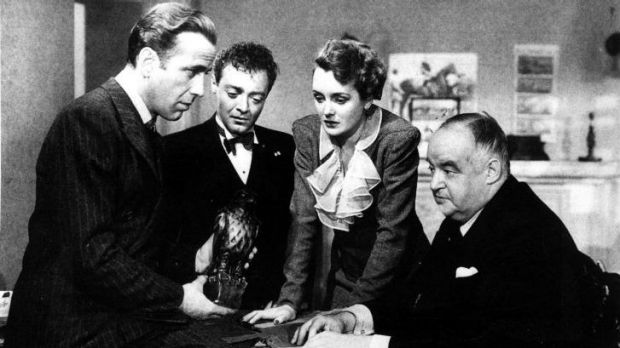 Crucial crossover: Humphrey Bogart with  Peter Lorre, Mary Astor and Sydney Greenstreet in <i>The Maltese Falcon</i>.