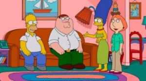 Mix and match: The Griffins visit the Simpson home in the season premiere of <i>?The Simpsons Guy</i>.