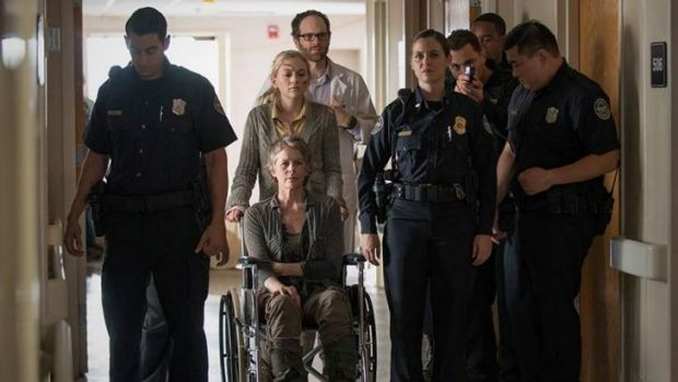 Carol (Melissa McBride) and Dawn (Christine Woods) at the prisoner exchange during the mid-season finale of <i>The ...