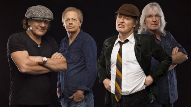 AC/DC pose in a publicity shot for their new album, <i>Rock or Bust</i>.