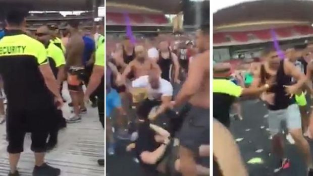 Screen grabs of footage of the brawl.
