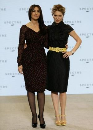 Actresses Monica Bellucci (left) and Lea Seydoux at the launch.