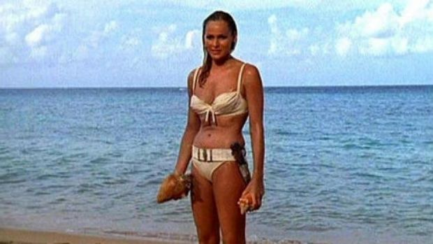 An original Bond girl, Ursula Andress in Dr No.