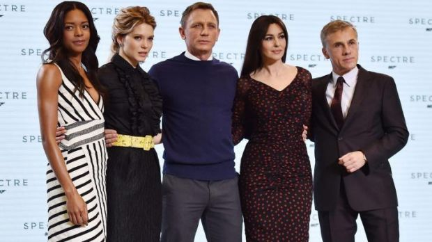 Naomi Harris, Lea Seydoux, Daniel Craig, Monica Bellucci and Christoph Waltz at the launch of the 24th James Bond film.