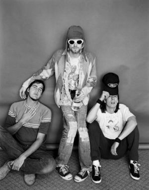 Nirvana: Krist Novoselic, Kurt Cobain and Dave Grohl. Frohman asked Cobain to remove the oversized sunglasses but he ...