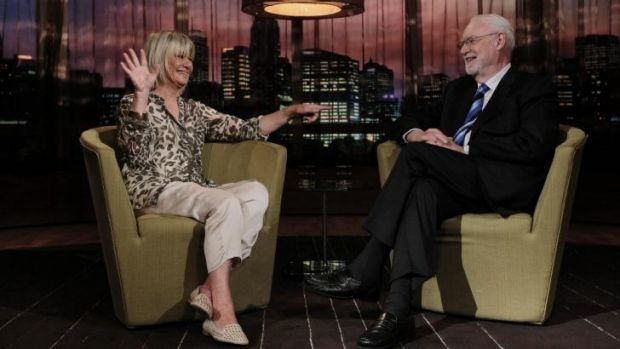 Portrait of Margaret Pomeranz and David Stratton on the set of <i>At the Movies</i>.