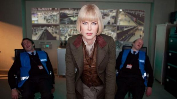 Nicole Kidman as evil museum taxidermist Millicent in <i>Paddington</i>, after knocking out two Tube security guards in ...