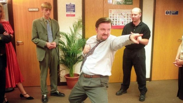 Ricky Gervais as David Brent in a scene from the BBC series The Office.