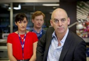 From left, Nat (played by Celia Pacquola), Hugh (Luke McGregor) and Tony (Rob Sitch) on the set of Utopia.