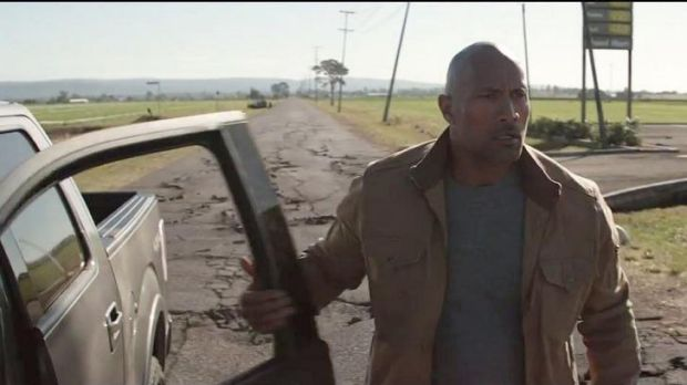 Dwayne Johnson in first trailer for earthquake movie <i>San Andreas</i>.
