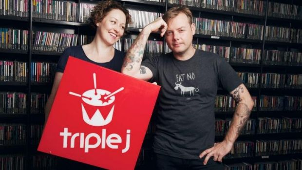 Signing off: Triple J's Lindsay McDougall, right, with fellow presenter Zan Rowe.