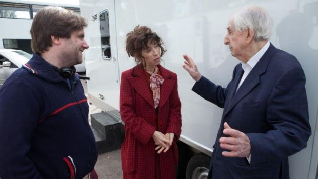 Director Paul King, actor Sally Hawkins and author Michael Bond on the set of <i>Paddington</i>.
