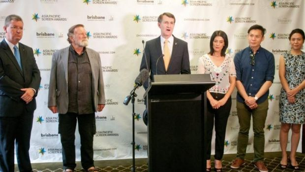 Lord Mayor Graham Quirk (centre), with, l-r, Pacific Screen Awards Executive Chairman Michael Hawkins, Australian actor ...