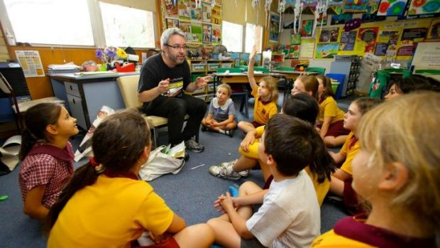 Enthusiast: Bernard Cohen teaches a creative writing workshop at Annandale North Public School.