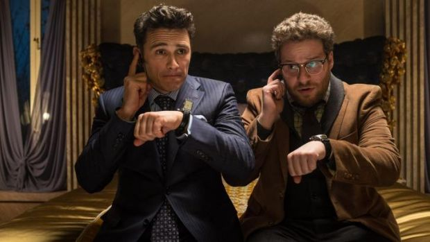 "James Franco, left, and Seth Rogen in ""The Interview."""