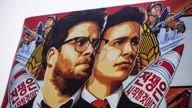 Movie release cancelled ... A banner for The Interview posted outside Arclight Cinemas in Hollywood, Los Angeles.