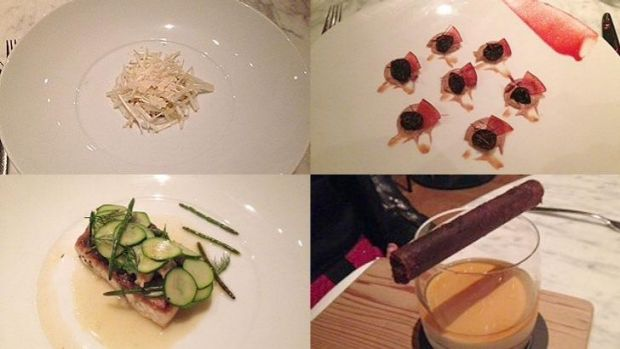 (Clockwise from top left) Blue manna crab with bean sprouts, enoki mushroom and almond. Duck liver parfait with salted ...