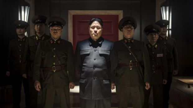 """Randall Park, centre, portrays North Korean leader Kim Jong Un in Columbia Pictures' """"The Interview."""""""