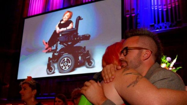 Bryce Ives at the public memorial to celebrate the life of Stella Young held at the Melbourne Town Hall.